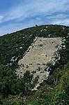Crosière en goélette en Croatie.  Iles de la Dalmatie.Ile de Korcula. Cultures en terrasse.Korcula island. Terrace fields.Cruise in Croatia. Island of Dalmatia