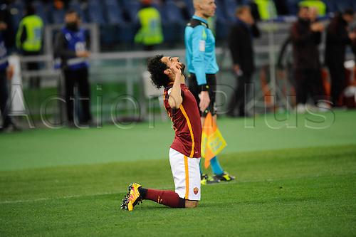 21.02.2016. Stadium Olimpico, Rome, Italy.  Serie A football league. AS Roma versus Palermo. SALAH celebrates scoring his goal for 3-0
