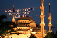 The Blue Mosque with script commemorating the conquest of the city by Sultan Fatih, Istanbul, Turkey
