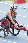 RIO DE JANEIRO - 10/9/2016:  Michelle Stilwell competes in the Women's 400m - T52 Final in the Olympic Stadium during the Rio 2016 Paralympic Games. (Photo by Matthew Murnaghan/Canadian Paralympic Committee