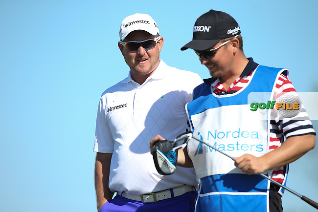 Merrick Bremner (RSA) enjoying the craic with his caddie during Round Two of the 2015 Nordea Masters at the PGA Sweden National, Bara, Malmo, Sweden. 05/06/2015. Picture David Lloyd | www.golffile.ie