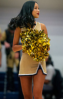 WASHINGTON, DC - FEBRUARY 8: George Washington cheerleader performs during a game between Rhode Island and George Washington at Charles E Smith Center on February 8, 2020 in Washington, DC.