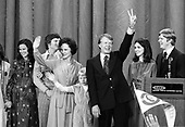 "United States President-elect Jimmy Carter, his wife, Rosalynn, and daughter Amy, surrounded by family, wave to the crowd at an election night rally after he claimed victory over US President Gerald R. Ford in Atlanta, Georgia on November 3, 1976.  <br /> Credit: Benjamin E. ""Gene"" Forte / CNP"