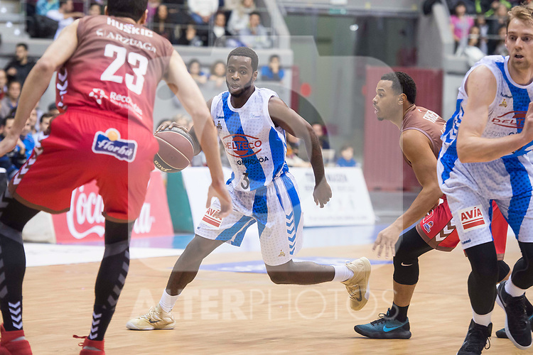 San Pablo Burgos Goran Huskic and Gipuzkoa Basket Kenny Chery during Liga Endesa match between San Pablo Burgos and Gipuzkoa Basket at Coliseum Burgos in Burgos, Spain. December 30, 2017. (ALTERPHOTOS/Borja B.Hojas)