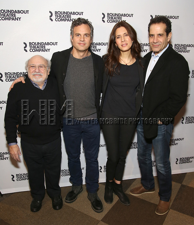 Danny DeVito, Mark Ruffalo, Jessica Hecht and Tony Shalhoub attend the photocall for the Roundabout Theater Company production of Arthur Miller's 'The Price' at The Roundabout Theatre Studios on January 19, 2017 in New York City.