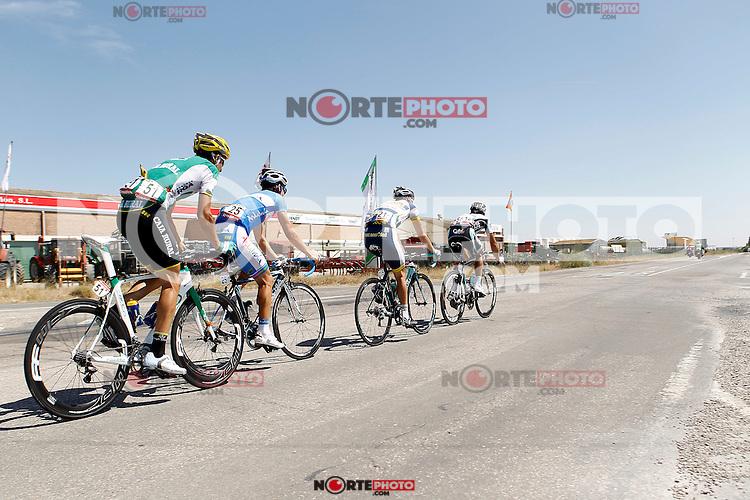 (R to L) Frantisek Rabon, Bertjan Lindeman, Pablo Lechuga and Javier Aramendia during the stage of La Vuelta 2012 between Huesca and Motorland Aragon (Alcaniz).August 24,2012. (ALTERPHOTOS/Acero) /NortePhoto.com<br /> <br /> **CREDITO*OBLIGATORIO** *No*Venta*A*Terceros*<br /> *No*Sale*So*third* ***No*Se*Permite*Hacer Archivo***No*Sale*So*third*