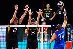 13.09.2019, Paleis 12, BrŸssel / Bruessel<br />Volleyball, Europameisterschaft, Deutschland (GER) vs. Serbien (SRB)<br /><br />Block / Doppelblock Tobias Krick (#2 GER), Ruben Schott (#3 GER) - Angriff Aleksandar Atanasijevic (#14 SRB)<br /><br />  Foto © nordphoto / Kurth