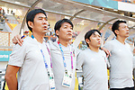 (L to R) <br /> € Hajime Moriyasu, <br />    Akinobu Yokouchi (JPN), <br /> AUGUST 19, 2018 - Football / Soccer : <br /> Men's Group D match <br /> between Japan 0-1 Vietnam <br /> at Wibawa Mukti Stadium <br /> during the 2018 Jakarta Palembang Asian Games <br /> in Cikarang, Indonesia. <br /> (Photo by Naoki Morita/AFLO SPORT)