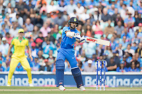 Shikhar Dhawan (India) cuts Nathan Coulter-Nile (Australia) to the point boundary during India vs Australia, ICC World Cup Cricket at The Oval on 9th June 2019