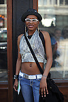 Shyvone Blunt, 23, a burlesque dancer from Chicago, on North Milwaukee in Wicker Park in Chicago, Illinois on June 20, 2009.