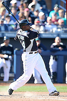 Michael Wilson #44 of the Seattle Mariners bats in a spring training game against the San Diego Padres at Peoria Stadium on February 27, 2011  in Peoria, Arizona. .Photo by:  Bill Mitchell/Four Seam Images.