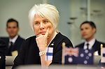Marina Kaljurand, Foreign Minister of Estonia, speaks during a meeting with Australian trade officials, at Parliament House, Canberra, Monday, February 29, 2016. AFP PHOTO/ MARK GRAHAM