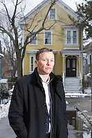 "Matthew Desmond is John L. Loeb Associate Professor of the Social Sciences at Harvard University, Co-Director of the Justice and Poverty Project, and a MacArthur Fellow, seen here near Central Square, in Cambridge, Massachusetts, USA, on Wed., Feb. 10, 2016. Desmond recently published the book, ""Evicted: Poverty and Profit in the American City,"" published by Crown."