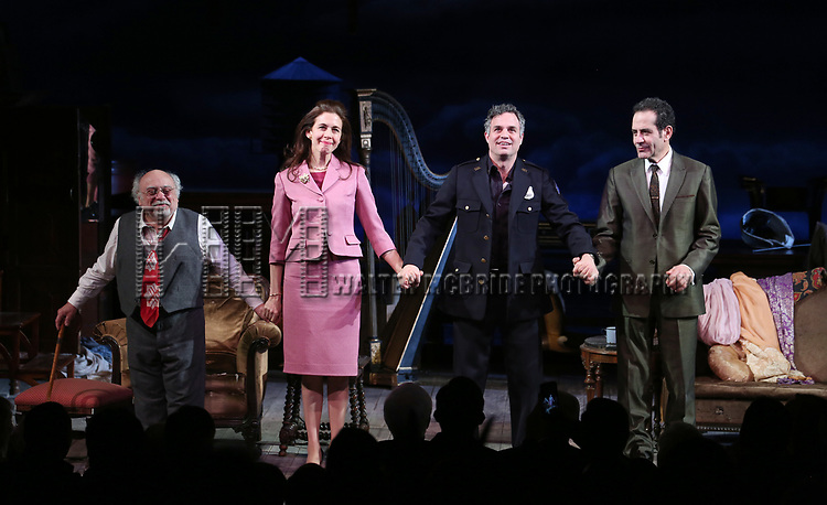 Danny DeVito, Jessica Hecht, Mark Ruffalo and Tony Shalhoub during Broadway Opening Night performance Curtain call for the Roundabout Theatre Production of 'The Price' at the American Airlines TheatreTheatre on March 16, 2017 in New York City.