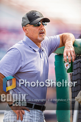 5 March 2016: Washington Nationals General Manager Mike Rizzo watches batting practice prior to a Spring Training pre-season game against the Detroit Tigers at Space Coast Stadium in Viera, Florida. The Nationals defeated the Tigers 8-4 in Grapefruit League play. Mandatory Credit: Ed Wolfstein Photo *** RAW (NEF) Image File Available ***