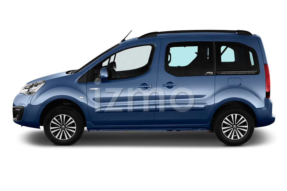 Car driver side profile view of a 2018 Peugeot Partner Tepee Electric Allure 5 Door Mini Van