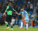 Sergio Aguero of Manchester City removes an ice pack during the UEFA Champions League Group C match at The Etihad Stadium, Manchester. Picture date: September 14th, 2016. Pic Simon Bellis/Sportimage