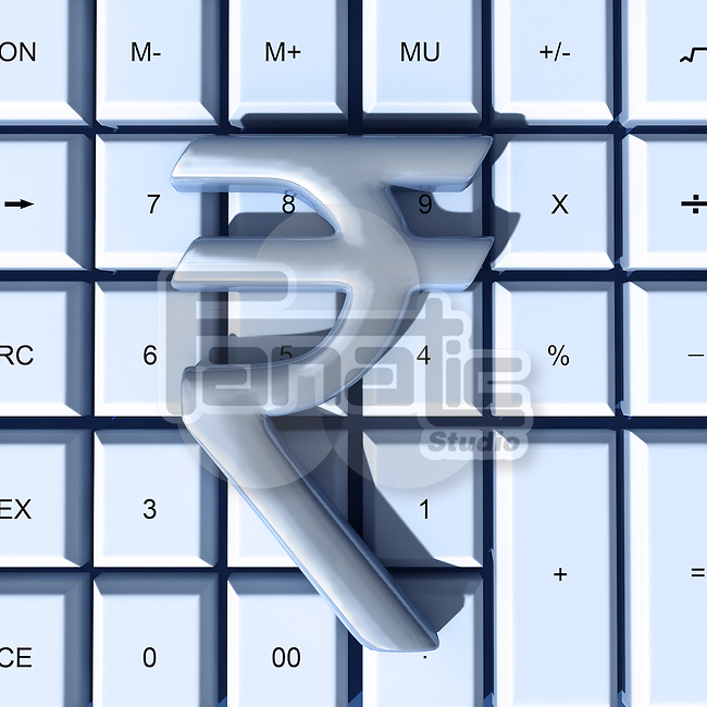 Indian Rupee symbol over calculator representing auditing