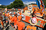 The publicity caravan pass by ahead of the race during Stage 12 of the 2018 Tour de France running 175.5km from Bourg-Saint-Maurice les Arcs to Alpe D'Huez, France. 19th July 2018. <br /> Picture: ASO/Bruno Bade | Cyclefile<br /> All photos usage must carry mandatory copyright credit (&copy; Cyclefile | ASO/Bruno Bade)