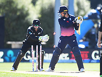 Tom Latham whips the bails off as Jason Roy looks on.<br /> New Zealand Black Caps v England, ODI series, University Oval in Dunedin, New Zealand. Wednesday 7 March 2018. &copy; Copyright Photo: Andrew Cornaga / www.Photosport.nz