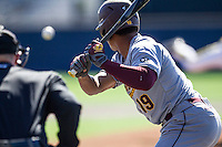 Central Michigan Chippewas outfielder Daniel Robinson (19) watches the pitch arrive against the Michigan Wolverines on March 29, 2016 at Ray Fisher Stadium in Ann Arbor, Michigan. Michigan defeated Central Michigan 9-7. (Andrew Woolley/Four Seam Images)