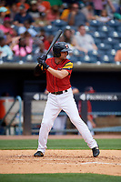 Toledo Mud Hens Pete Kozma (24) bats during an International League game against the Durham Bulls on July 16, 2019 at Fifth Third Field in Toledo, Ohio.  Durham defeated Toledo 7-1.  (Mike Janes/Four Seam Images)