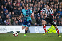Dayle Southwell of Wycombe Wanderers & Zak Mills of Grimsby Town during the Sky Bet League 2 match between Grimsby Town and Wycombe Wanderers at Blundell Park, Cleethorpes, England on 4 March 2017. Photo by Andy Rowland / PRiME Media Images.
