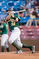 Jamie Romak #39 of the Lynchburg Hillcats follows through on his swing versus the Winston-Salem Dash at Wake Forest Baseball Stadium August 30, 2009 in Winston-Salem, North Carolina. (Photo by Brian Westerholt / Four Seam Images)