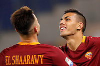 Calcio, Serie A: Roma vs Palermo. Roma, stadio Olimpico, 23 ottobre 2016.<br /> Roma's Leandro Paredes, right, celebrates with teammate Stephan El Shaarawy after scoring during the Italian Serie A football match between Roma and Palermo at Rome's Olympic stadium, 23 October 2016. Roma won 4-1.<br /> UPDATE IMAGES PRESS/Riccardo De Luca