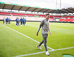07.08.2019 FC Midtjylland and Rangers pressers: Steven Gerrard inspects the pitch at the MCH Arena in Herning, Denmark