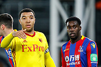 Troy Deeney of Watford & Jeffrey Schlupp of Crystal Palace during the Premier League match between Crystal Palace and Watford at Selhurst Park, London, England on 12 December 2017. Photo by Carlton Myrie / PRiME Media Images.
