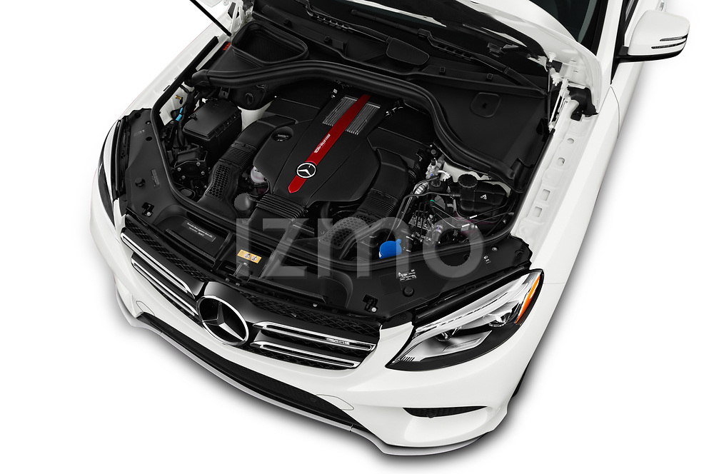 Car Stock 2017 Mercedes Benz GLE-Class AMG-GLE43 5 Door SUV Engine  high angle detail view