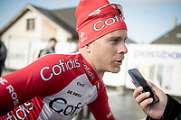 Julien Vermote (BEL/Cofidis) being interviewed pre-race<br /> <br /> 72nd Kuurne-Brussel-Kuurne 2020 (1.Pro)<br /> Kuurne to Kuurne (BEL): 201km<br /> <br /> ©kramon