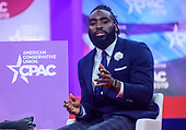 Demario Davis, linebacker for the New Orleans Saints of the National Football League, speaks at the Conservative Political Action Conference (CPAC) at the Gaylord National Resort and Convention Center in National Harbor, Maryland on Thursday, February 28, 2019.<br /> Credit: Ron Sachs / CNP