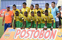 BARRANQUIILLA -COLOMBIA-9-JULIO-2014. Formacion del Real Cartagena  contra el Atletico Junior  por la Copa Postobon II en el estadio Metropolitano./  Team of Real Cartagena  against of Atletico Junior during  Cup II in Metropolitan Stadium Photo:VizzoImage / Alfonso Cervantes / Stringer