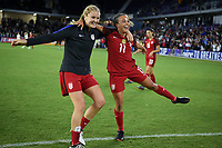 Orlando City, FL - Wednesday March 07, 2018: Lindsey Horan, Mallory Pugh, Celebrate during a 2018 SheBelieves Cup match between the women's national teams of the United States (USA) and England (ENG) at Orlando City Stadium.