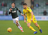 Fleetwood Town's Ched Evans under pressure from Plymouth Argyle's Ruben Lameiras<br /> <br /> Photographer Kevin Barnes/CameraSport<br /> <br /> The EFL Sky Bet League One - Plymouth Argyle v Fleetwood Town - Saturday 24th November 2018 - Home Park - Plymouth<br /> <br /> World Copyright © 2018 CameraSport. All rights reserved. 43 Linden Ave. Countesthorpe. Leicester. England. LE8 5PG - Tel: +44 (0) 116 277 4147 - admin@camerasport.com - www.camerasport.com