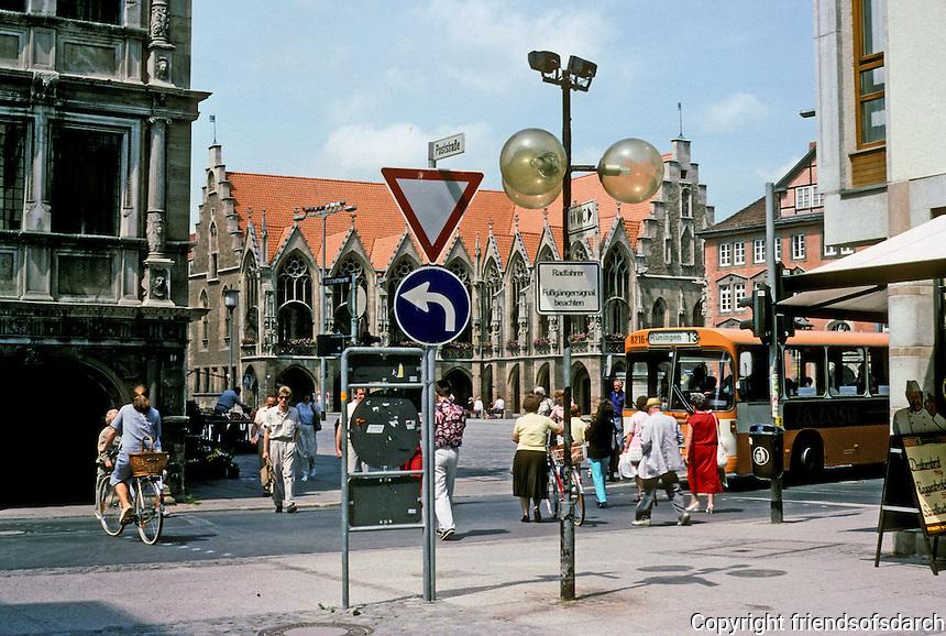 Braunschweig: Looking past the Linen Hall to the Altstadtrathaus  (old Town Hall) and Altstadtmarkt. Photo '87.