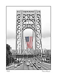 George Washington Bridge, GWB, with the largest American flag diployed, 4th, of, July, 2015, taken by, Dave Rossi, Dave, Rossi, Ft Lee, lee, NJ, New Jersey, New York, background,taken, straight,second tower, color, black and white or B&W, spot color, american flag, fine, art, Limited, edition, prints, commercial,stock,