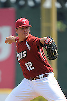 Temple University Owls pitcher Patrick Vanderslice (12) during a game against the University of Louisville Cardinals at Campbell's Field on May 10, 2014 in Camden, New Jersey. Temple defeated Louisville 4-2.  (Tomasso DeRosa/ Four Seam Images)