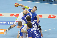 12.01.2013 Barcelona, Spain. IHF men's world championship, Quarter-Final. Picture show Nenad Bilbija   in action during game between Russia vs Slovenia at Palau ST Jordi