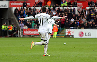 Sunday, 26 April 2014<br /> Pictured: Pablo Hernandez of Swansea celebrating his goal  making the score 3-1 to his team. <br /> Re: Barclay's Premier League, Swansea City FC v Aston Villa at the Liberty Stadium, south Wales.