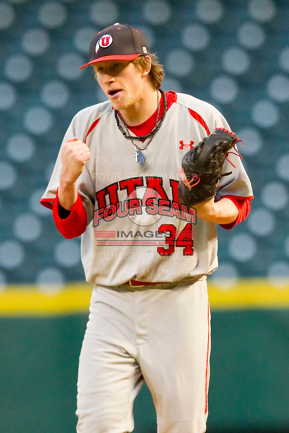 Tyler Wagner #34 of the Utah Utes reacts after getting the final out against the Texas A&M Aggies at Minute Maid Park on March 4, 2011 in Houston, Texas.  Photo by Brian Westerholt / Four Seam Images
