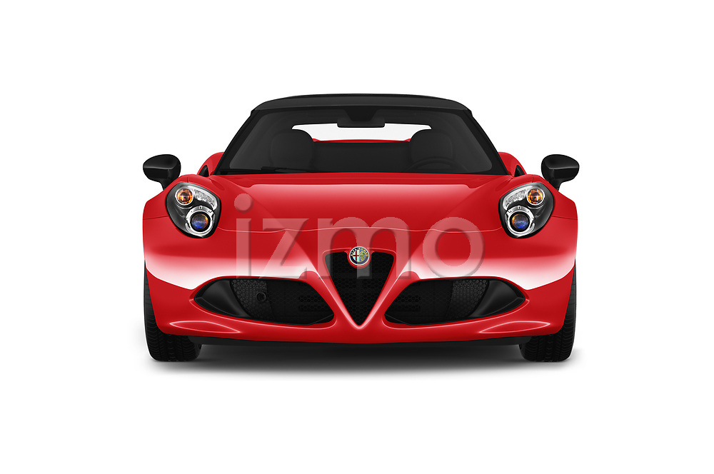 Car photography straight front view of a 2018 Alfaromeo 4C - 2 Door Convertible Front View