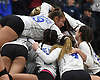 Lexie Correia #19 celebrates atop a pile of Long Beach teammates after a 3-2 win over Commack in the girls volleyball Class AA Long Island Championship at Farmingdale State College on Sunday, Nov. 11, 2018.