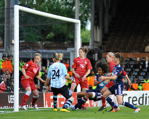 26.05.2011 Womens Champions League Final from Craven Cottage in London. FFC Turbine Potsdam v Olympique Lyonnais. Wendie Renard opens the scoring for Lyonnaise