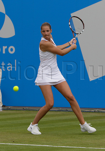 20.06.2015.  Birmingham, England. Aegon Classic Tennis Tournament. Karolina Pliskova (Cze) in the rain-delayed semi-final action against Kristina Mladenovic (Fra).