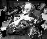 KERRY FARMER JEROME O'LEARY who died at the weekend pictured enjoying a pint in Blackwater Tavern  with his cow 'Big Bertha' in 1992.<br />  PHOTO BY: Don MACMONAGLE