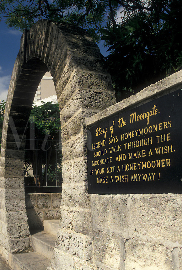 arch, Bermuda, Hamilton, Story of the Moongate in the town of Hamilton in Bermuda.