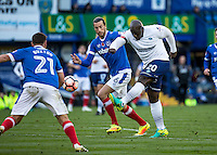 Adebayo Akinfenwa of Wycombe Wanderers during the FA Cup 1st round match between Portsmouth and Wycombe Wanderers at Fratton Park, Portsmouth, England on the 5th November 2016. Photo by Liam McAvoy.